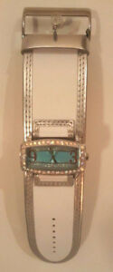 ***FABULOUS WHITE W/BLUE FACE & LOTS OF BLING GUESS WATCH!!!***