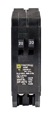 Square D Homeline 2020 Amps Tandem Single Pole Circuit Breaker