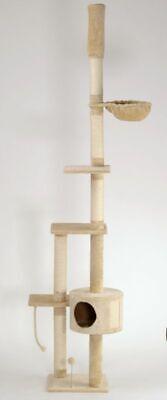 Katzen-Kratzbaum deckenhoch XXL braun oder beige LUCY mit Katzenspielzeug - Katze