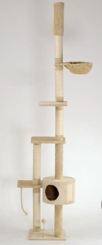 Katzen-Kratzbaum deckenhoch XXL beige, braun, grau LUCY mit Katzenspielzeug