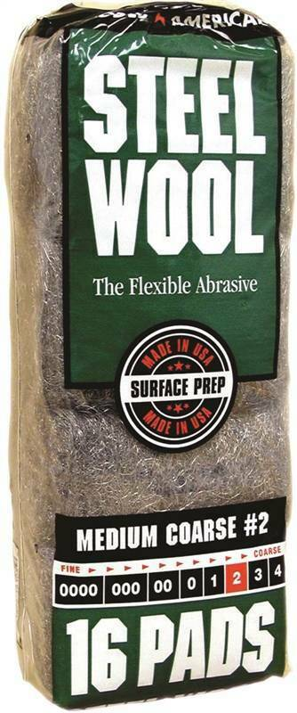 Homax 106605 Steel Wool Pad, #2 Grit, Medium, Gray, 16 Pads per Pack