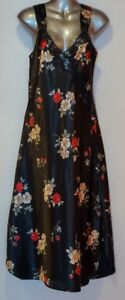 ADONNA Black Floral Design Night Gown