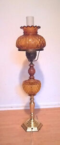 Vintage Fenton Amber Diamond Quilted Glass Lamp