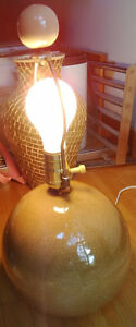Beige round table lamp $15