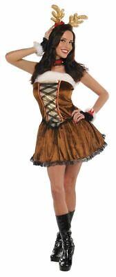 Deluxe Sexy Christmas Raindeer Ladies Fancy Dress Costume Xmas Party Outfit - Raindeer Costumes