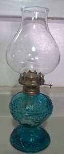 Vintage Rare Blue Oil Lamp Made in Hong Kong