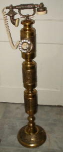 Vintage French Brass Rotary Phone Floor Model