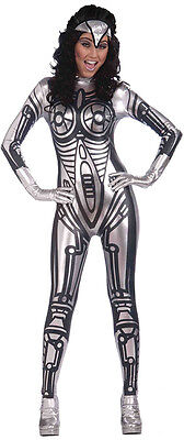 Sci-fi Outfit (FEMALE ROBOT #JUMPSUIT SILVER SPACE OUTFIT FANCY DRESS SCI-FI)