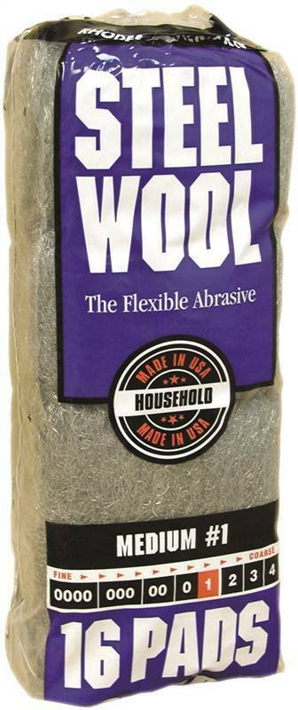 Homax 106604 Steel Wool Pad, #1 Grit, Medium, Gray, 16 Pads per Pack