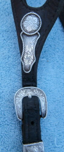 Vintage Shaped Ear Horse Show Headstall Silver Overlay Buckles