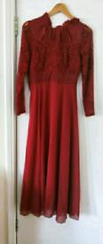 Red Classy Elegant Long Dress Asian Medium (Can fit UK 8-10)