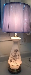 Vintage White Milk Glass Lamp with Purple Flowers & Purple Shade