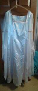 White Satin Wedding Gown and Cape