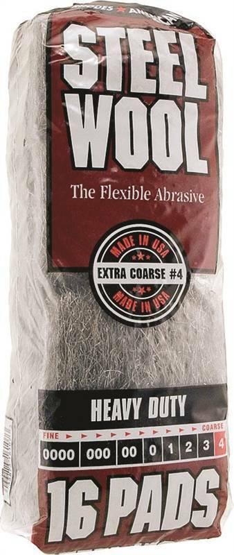 Homax 106607 Steel Wool Pad, #4 Grit, Extra Coarse, Gray, 16 Pads per Pack