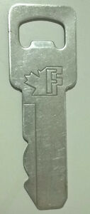 "Vintage Metal Key Bottle Opener with Maple Leaf & Letter ""F"""