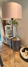 Chrome floor lamp with pale pink shade