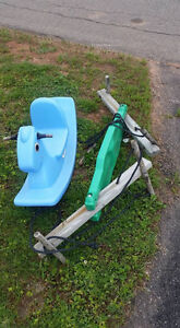 Toy rocker and teeter totter swing attachment