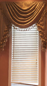 3 set of light brown Faux Wood Blinds with fabric curtins.
