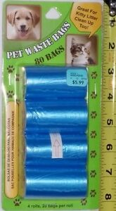 Qty 8 x 80 Pet Waste Bags - NEW in Package (4 Rolls of 20 Bags)
