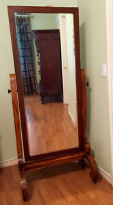 Graceful Antique Mirror on Mahogany Stand