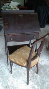 Antique, solid wood writing desk and chair