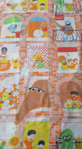 Vintage Sesame Street Fitted Twin Bed Sheet Hooper Snuffy Fabric