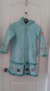 Manteau en suède turquoise fille 6X