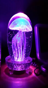 ILLUMINATING GLASS JELLY FISH PAPERWEIGHT AND CRYSTAL BASE