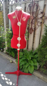 Red Seamstress Dress Form, Bust Form, mannequin, display
