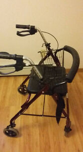 Walker with seat and basket.