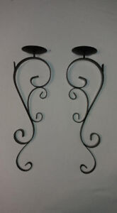 Black Decorative Metal Wall Hanging Candle Holders