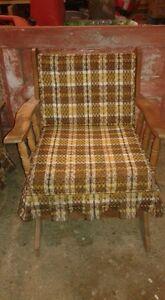 2 Retro Wooden Chairs with Cushions : 1 Rocker & 1 with Legs SET London Ontario image 2