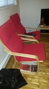 2 BEAUTIFUL RED CHAIRS FOR SALE