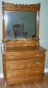 "ANTIQUE DRESSER AND MIRROR HAND CRAFTED DARK BROWN 42"" LONG"
