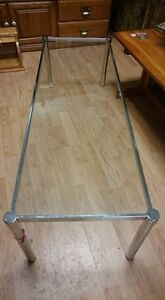 Glass and Silver Metal Coffee Table