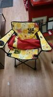 Yellow Flower Lawn Chair With Red Carrying Case