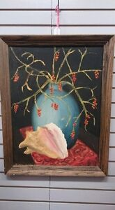 Large Oil Painting Of Seashell and Plant In Wooden Frame