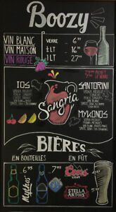 Hand drawn chalkboard menu/murals for restaurant