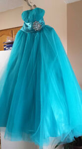 Blue ballgown prom dress