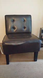FOR SALE: BLACK FAUX LEATHER SLIPPER CHAIR