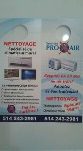 nettoyage climatiseur mural, thermopompe, air climatisée