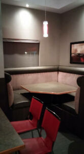 Restaurant booth and tables