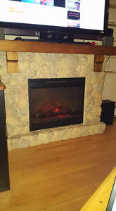 Real Stone Fireplace Mantel with Insert