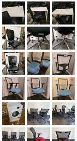 Selection of office desks and chairs