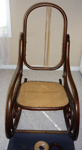 wood & Wicker Rocking Chair  ..Repair accessories included