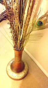 5 ft Floor Vase with Peacock Feathers & Bamboo Sticks