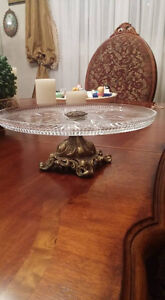 Antique crystal vase/cake stand with brass.