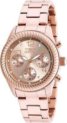 Invicta Women's 20267 Angel Quartz Chronograph Rose Gold Dial Watch