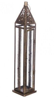 Terrasse Laternen (Marokkanische Laterne Windlicht Metall goldfarben Vintage Shabby 50 cm Terrasse)