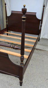 Elegant vintage double poster bed with box-spring, refinished